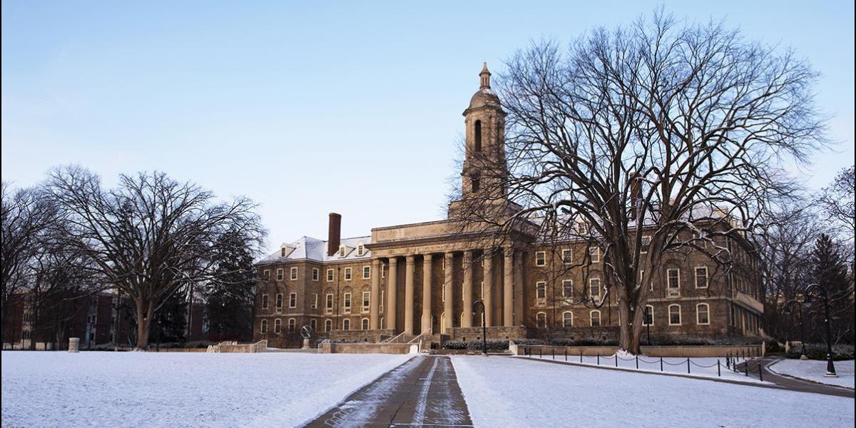 Old Main with snow