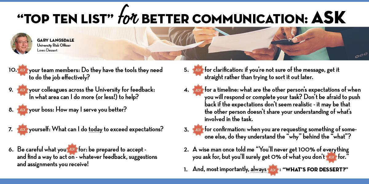 Top 10 List for Better Communications